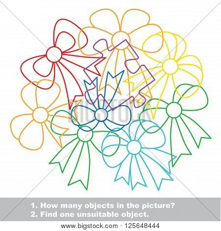 Bow mishmash colorful set in vector. Find all hidden objects on the picture. Find one unfit object. Visual game for children.