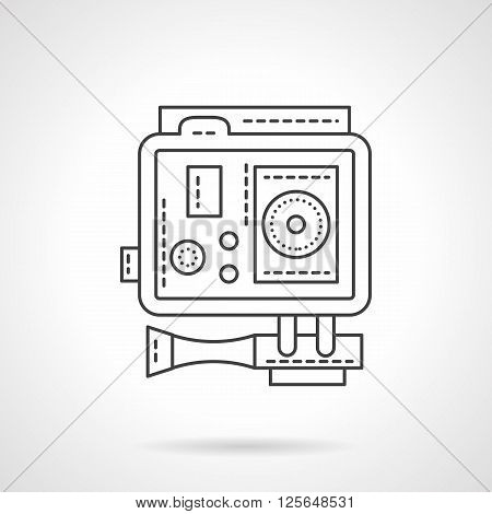 Activity lifestyle. Equipment for record of sport and extreme events. Professional action camera with mounts. . Flat line style vector icon. Single design element for website, business.