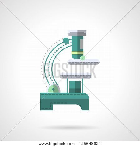 A side view of a light microscope. Biology and medical research equipment. Discovery of microorganisms. Education and science. Flat color vector icon. Web design element for site, mobile and business.
