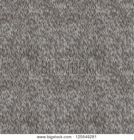 Vector Short Gray Fur Background. Seamless Pattern for Print Design. Animal Skin. Digital Illustration.