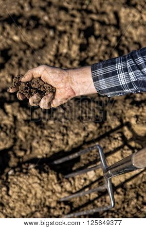 Close up from a Farmer Hand with Soil and a pitchfork