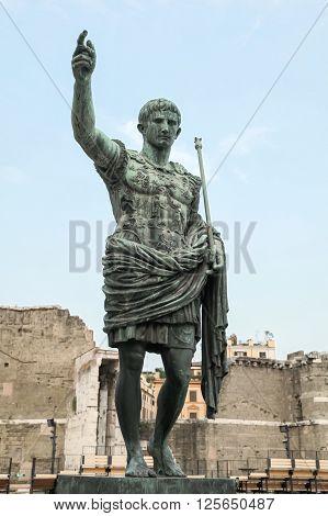 Caesar Augustus, Ancient Statue. Rome, Italy