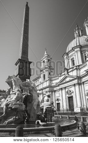Fountain Of Four Rivers In The Piazza Navona