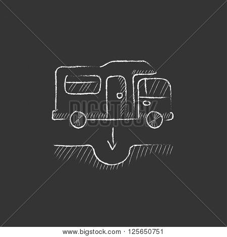 Motorhome and sump. Drawn in chalk icon.