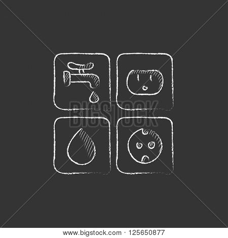 Utilities signs electricity and water. Drawn in chalk icon.