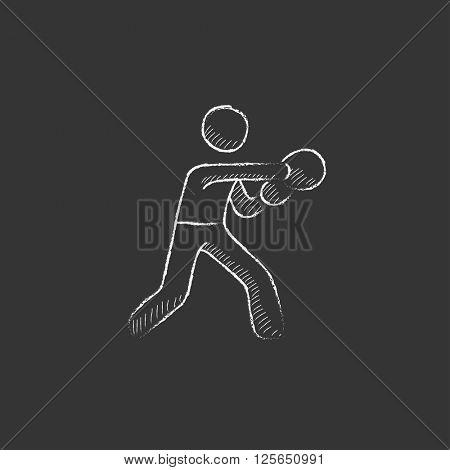 Male boxer. Drawn in chalk icon.