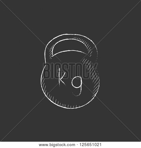Kettlebell. Drawn in chalk icon.