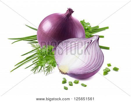Purple onion green spring scallion isolated on white background as package design element