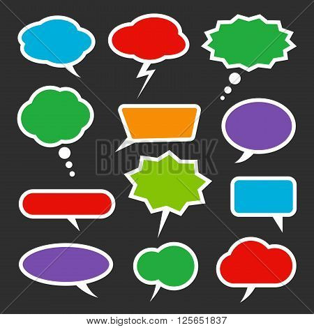Speech bubble colorful set. White outlines. Ready to use. You can recolor it by using