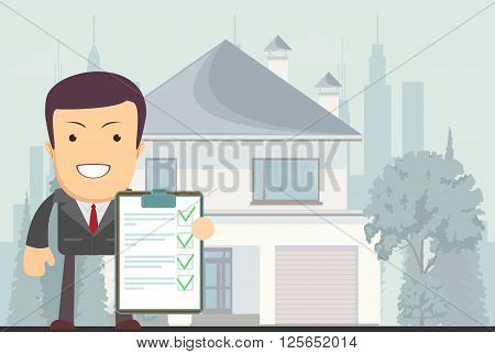 Real estate concept realtor man on house background in flat style, vector illustration