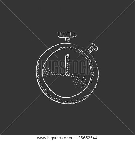 Stopwatch. Drawn in chalk icon.