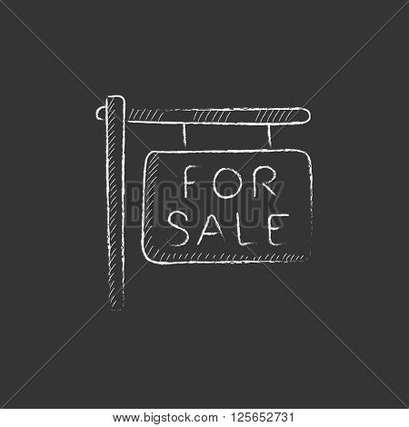 For sale signboard. Drawn in chalk icon.