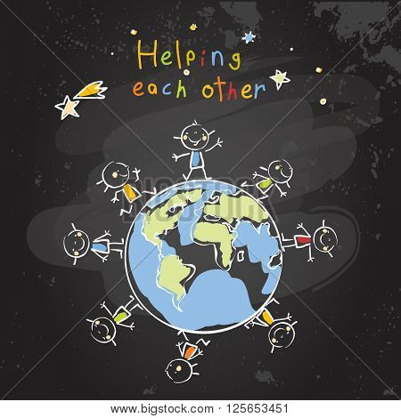 Kids helping each other, global friendship, unity education concept vector illustration. Children being together, teamwork. Chalk on blackboard sketch, hand drawn doodle.