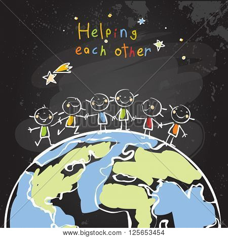 Kids helping each other, global friendship, unity concept vector illustration. Children being together, teamwork. Chalk on blackboard sketch, hand drawn doodle.