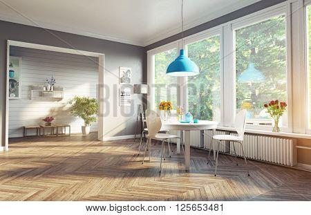 modern dining room. 3d rendering. concept