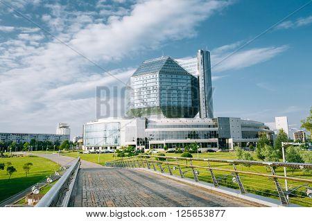 MINSK, BELARUS - June 3, 2014: Building Of National Library Of Belarus In Minsk. Famous Symbol Of Belarusian Culture And Science