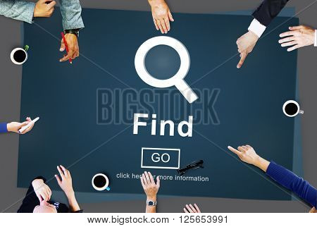 Find Magnifying Glass Go Button Concept