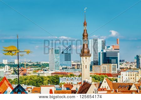 Scenic View Cityscape Old And Modern City Town Tallinn In Estonia