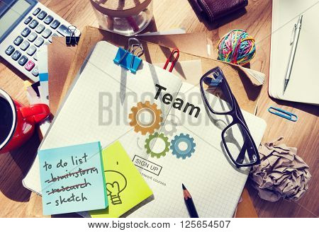 Stationary Office Desk Messy Team Concept
