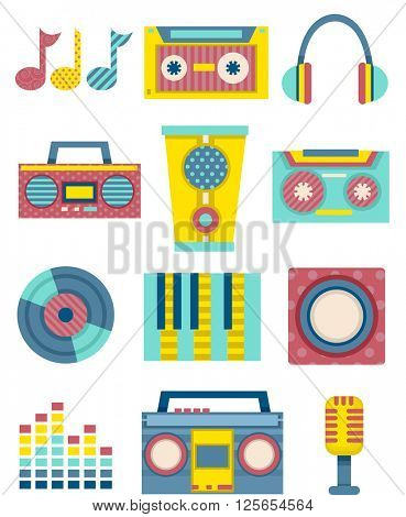 Flat Illustration Featuring Music Related Elements