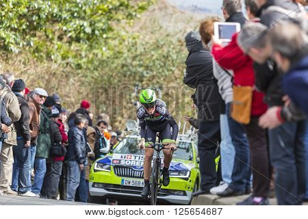 Conflans-Sainte-Honorine,France-March 6,2016: The Danish cyclist Chris Anker Sorensen of Fortuneo-Vital Concept Team riding during the prologue stage of Paris-Nice 2016.