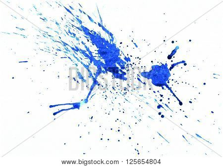 Hand drawn watercolor stained splash. Colorful blue paint stain. Drips and drops of color. Grunge design element in bright juicy colors.