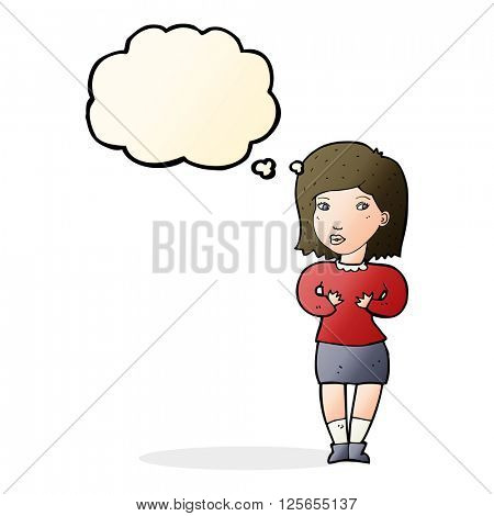 cartoon woman making excuses with thought bubble