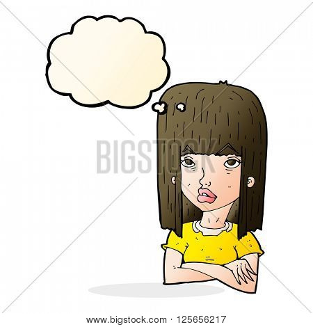 cartoon girl with folded arms with thought bubble
