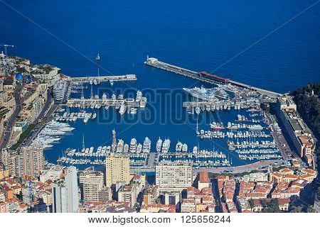 Aerial View of Port Hercule and the Mediterranean Sea in Monaco