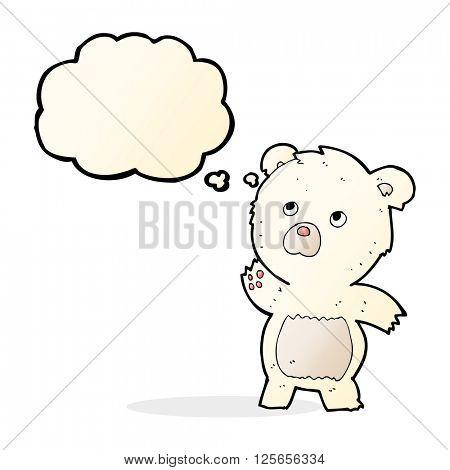 cartoon curious polar bear with thought bubble