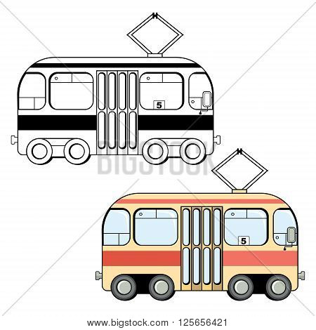 Black and white and colored variants of cute cartoon style tram isolated on white background. Streetcar vector illustration