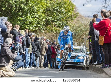 Conflans-Sainte-Honorine,France-March 6,2016: The Lithuanian cyclist Evaldas Siskevicius of Delko-Marseille Provence-KTM Team riding during the prologue stage of Paris-Nice 2016.