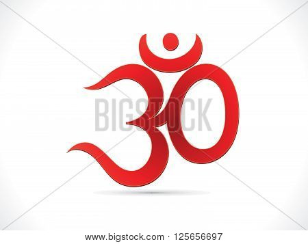 abstract artistic red om text vector illustration