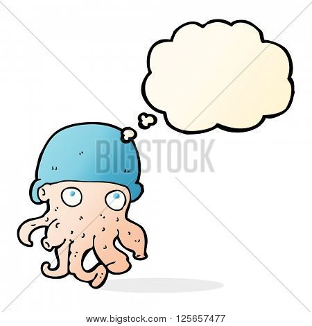 cartoon alien head wearing hat with thought bubble