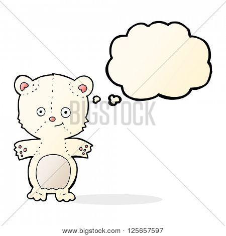 cartoon polar bear cub with thought bubble