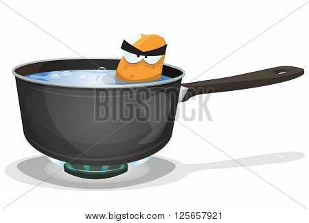 Illustration of a funny angry cartoon potato character angry while boiling inside home kitchen pan