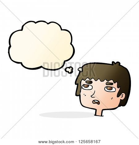 cartoon unhappy face with thought bubble
