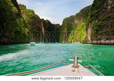 Entering Pileh lagoon with beautiful limestone rock surrounded at Phi Phi island Krabi Thailand