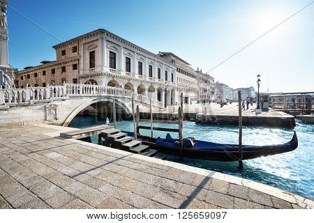 traditional gondola on Canal Grande, San Marco, Venice, Italy