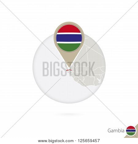 Gambia Map And Flag In Circle. Map Of Gambia, Gambia Flag Pin. Map Of Gambia In The Style Of The Glo