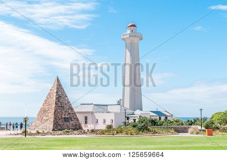 PORT ELIZABETH SOUTH AFRICA - FEBRUARY 27 2016: The Donkin Reserve house a lighthouse and a stone pyramid erected by Sir Rufane Donkin in memory of his late wife Elizabeth after whom the city was named