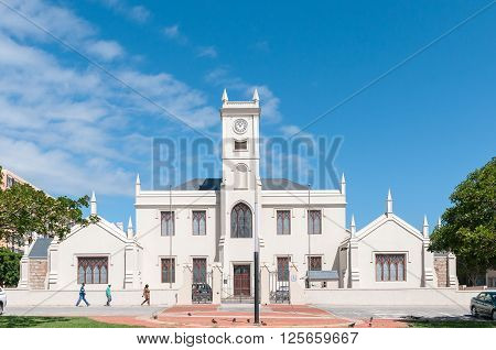 PORT ELIZABETH SOUTH AFRICA - FEBRUARY 27 2016: The historic Old Grey Institute on Belmont Terrace was built in 1858 and the clock tower was added in 1875