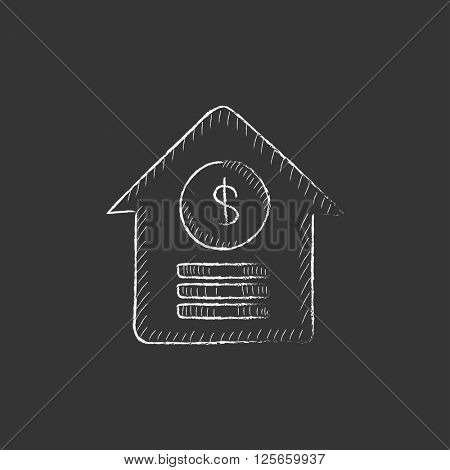 House with dollar symbol. Drawn in chalk icon.