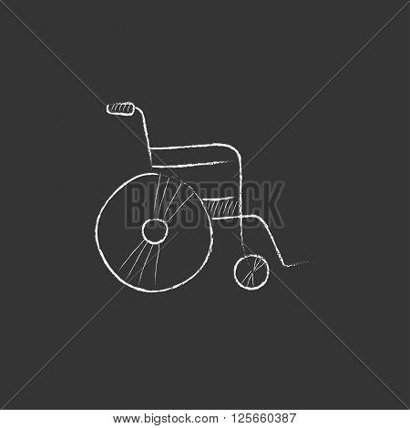 Wheelchair. Drawn in chalk icon.
