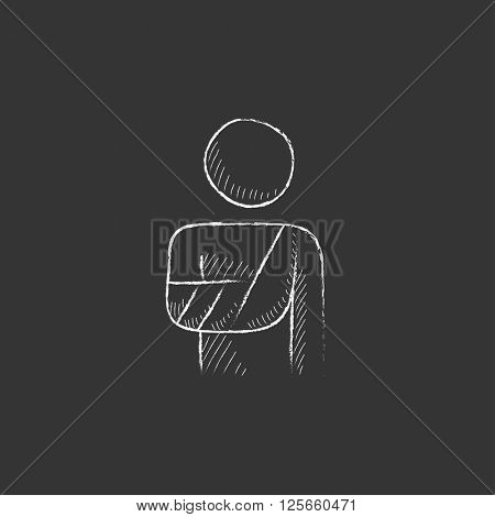 Injured man. Drawn in chalk icon.