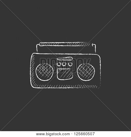 Radio cassette player. Drawn in chalk icon.