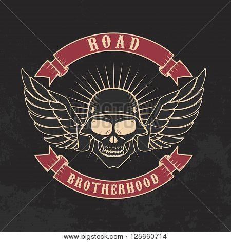 Road brotherhood. Skull in motorcycle helmet and goggles on grunge background. Design element in vector.