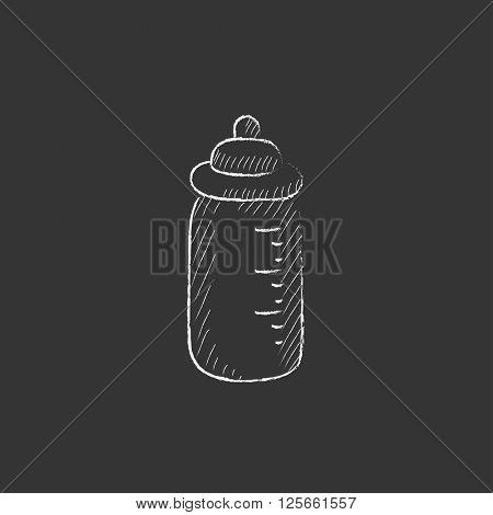 Feeding bottle. Drawn in chalk icon.