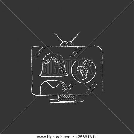 TV report. Drawn in chalk icon.