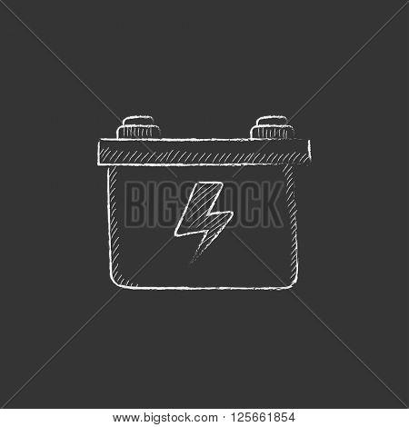 Car battery. Drawn in chalk icon.